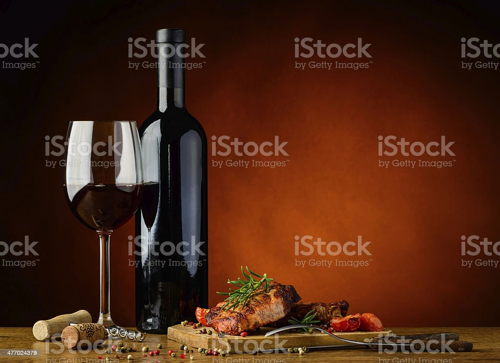 Dinner with grilled steak and wine stock photo