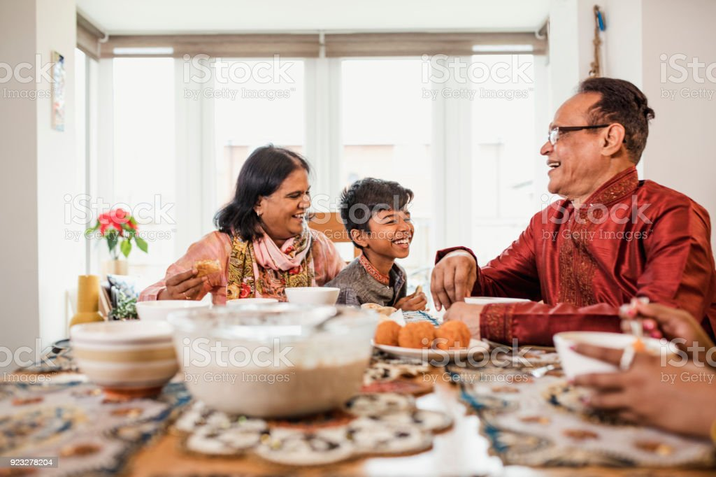 Dinner with his Grandparents stock photo