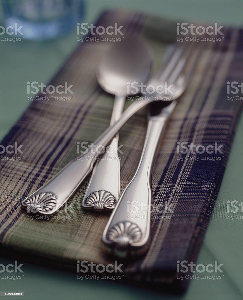 Dinnerware on table cloth stock photo