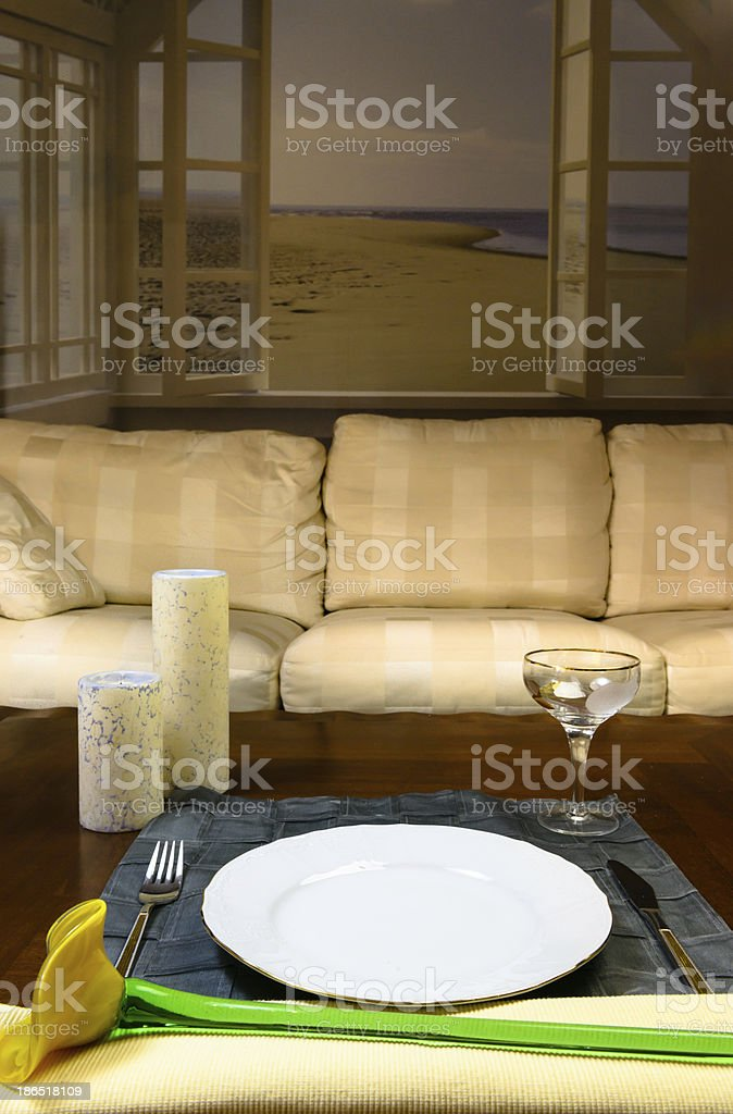 Dinning in the livingroom royalty-free stock photo