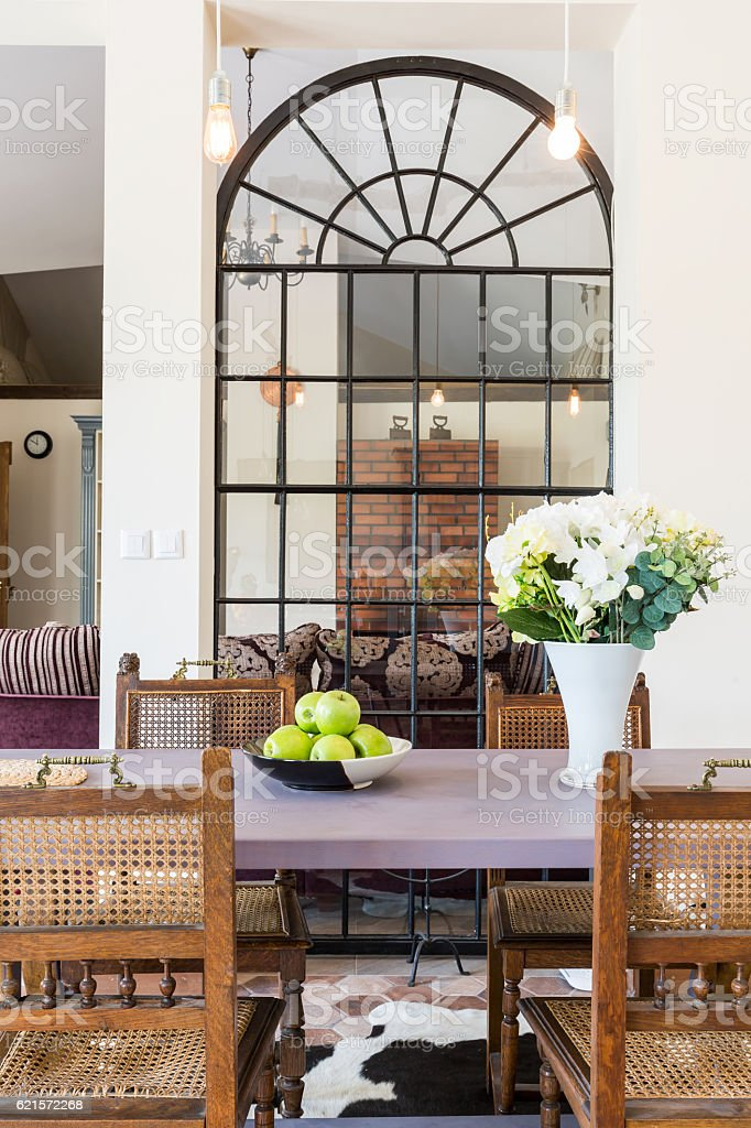 Dinning room interior in rustic style photo libre de droits
