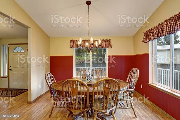 Dinning Room With Red And Cream Interior Stock Photo Download Image Now Istock