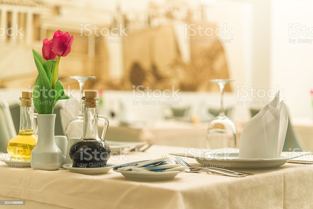 Dinning table in restaurant stock photo