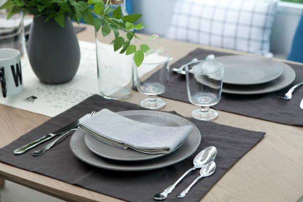 dinning table set stock photo
