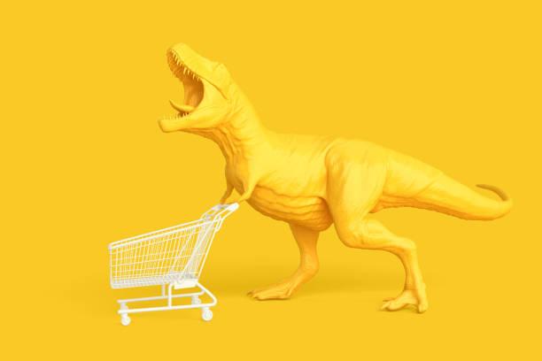 dino mit warenkorb. einzelhandelskonzept. 3d illustration. apart - dinosaurier illustration stock-fotos und bilder
