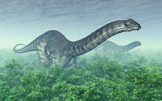 Dinosaur Apatosaurus In A Forest Stock Photo - Download Image Now