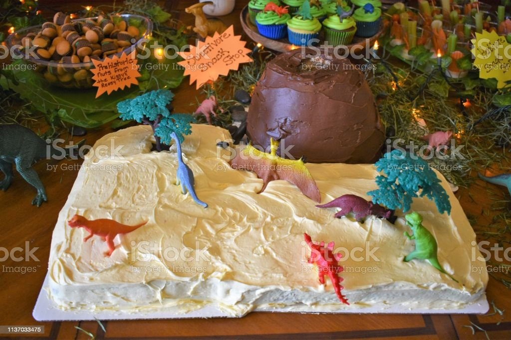 Admirable Dinosaur Birthday Cake Stock Photo Download Image Now Istock Funny Birthday Cards Online Alyptdamsfinfo