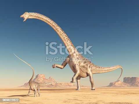 Computer generated 3D illustration with the dinosaur Diplodocus in the desert