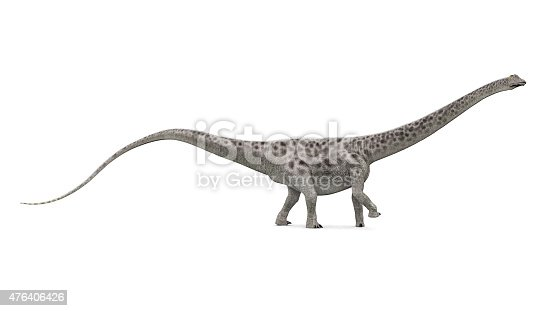Computer generated 3D illustration with the dinosaur Diplodocus against a white background