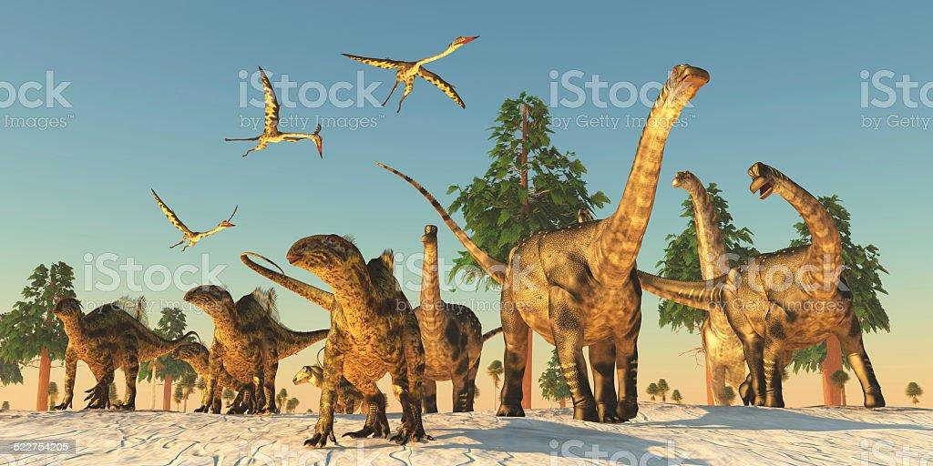 Dinosaur sequía migración - foto de stock