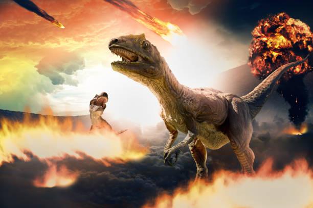 dinosaur extinction day stock photo