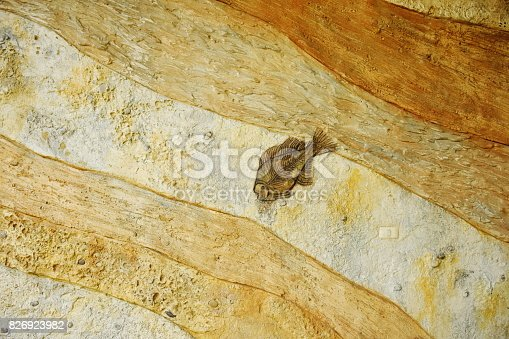 istock Dinosaur fossil simulator in sand background 826923982
