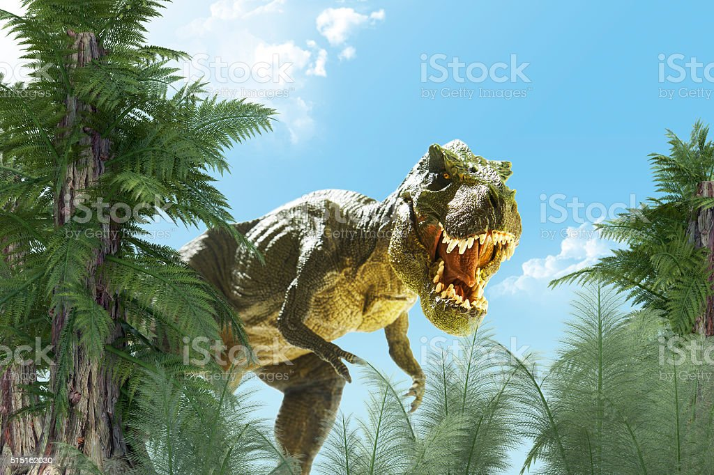 Dinosaur in landscape stock photo
