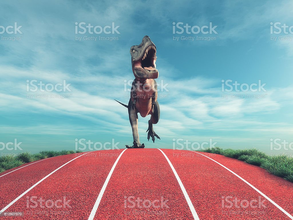 Dinosaur running stock photo