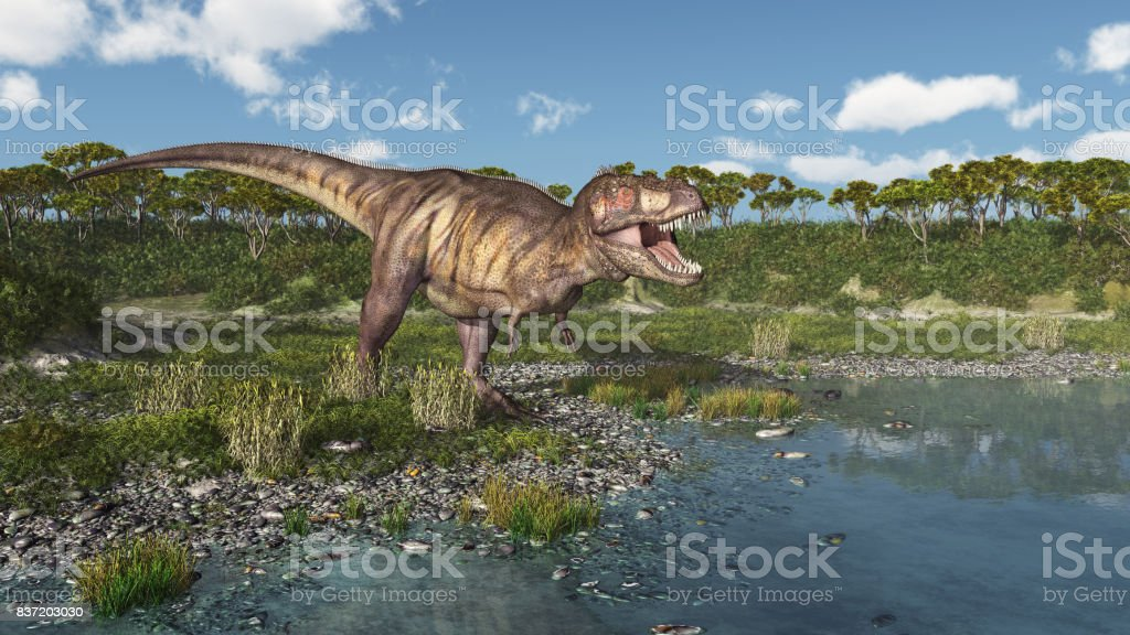 Dinosaur Tyrannosaurus Rex at the sea stock photo