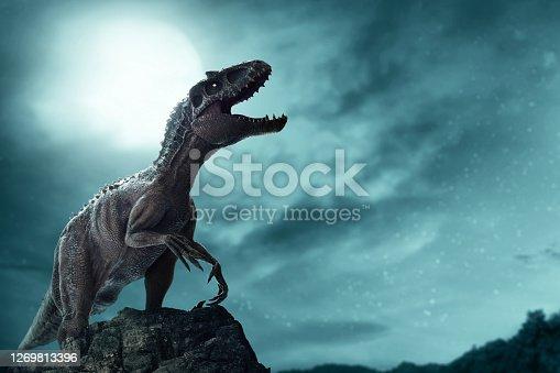 istock Dinosaur, Tyrannosaurus Rex in the jungle 1269813396