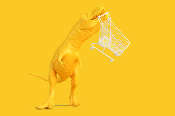 Dinosaur with shopping cart. 3D illustration. Contains clipping stock photo