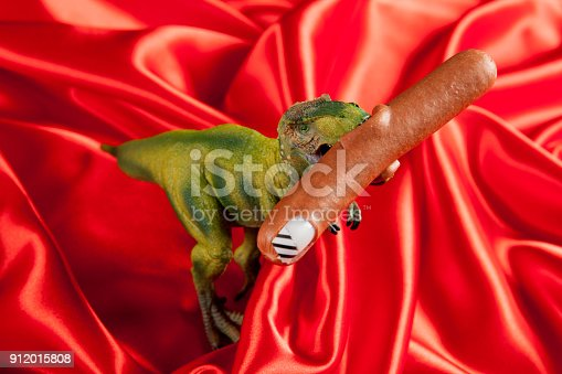 istock dinosaure eating sausage manicure 912015808