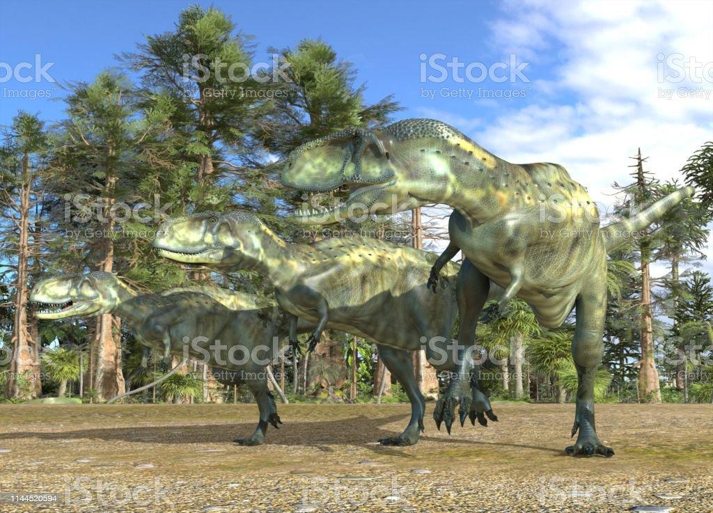 中生代の森の背景に恐竜の3d イラスト - 3Dのストックフォトや画像を ...