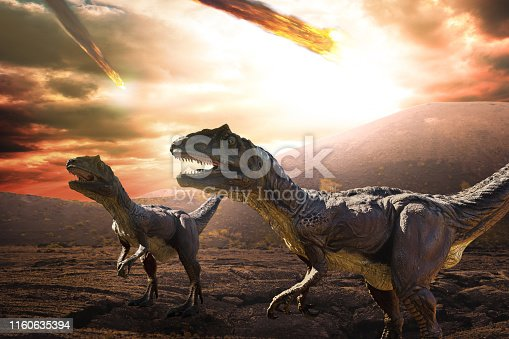 asteroid falling from the sky during dinosaurs apocalypse and extinction day