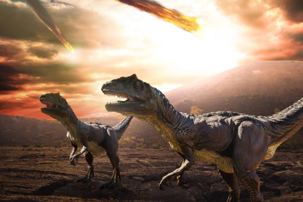 dinosaurier apokalypse tag - dinosaurier stock-fotos und bilder