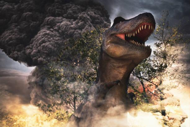 dinosaurs extinction day stock photo