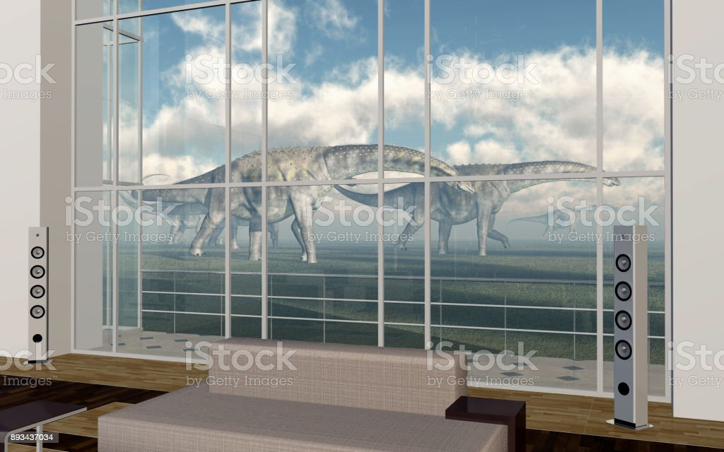 Dinosaurios al frente living comedor con gran ventanal - foto de stock