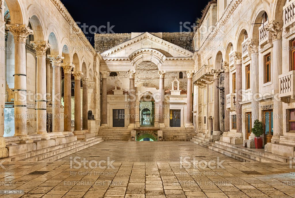 Diocletian's Palace at night stock photo