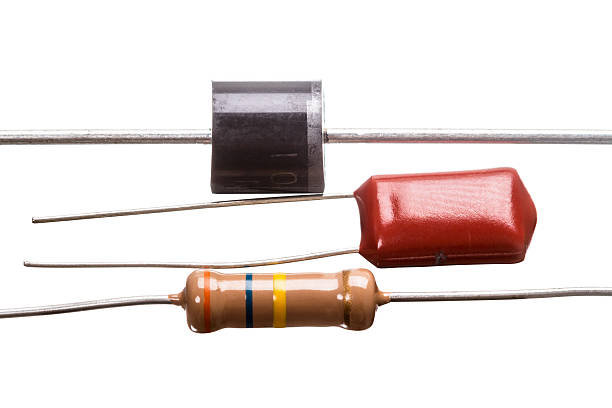 Diode capacitor and resistor stock photo