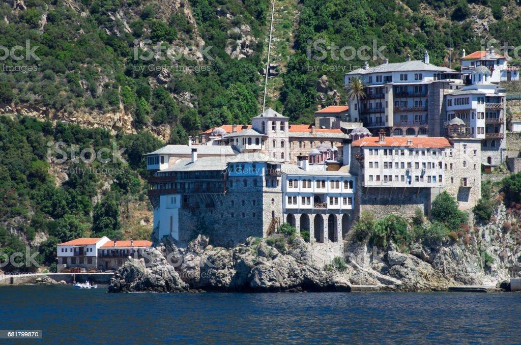 Dionissiou monastery, Athos Peninsula, Mount Athos, Chalkidiki, Greece stock photo
