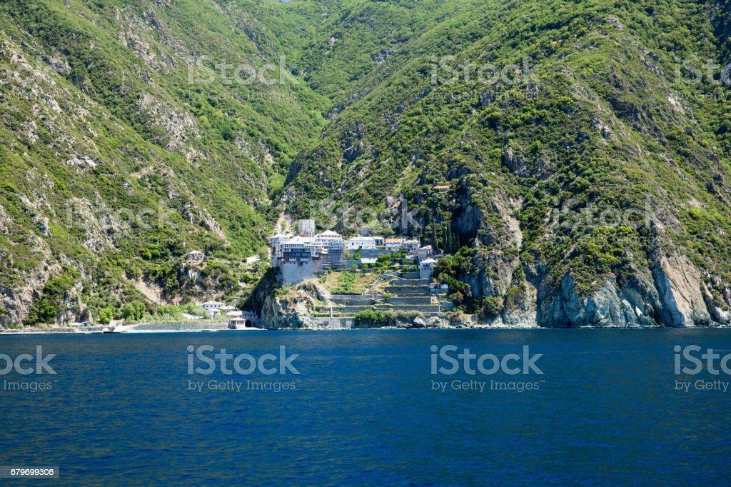 Dionissiou monastery stock photo