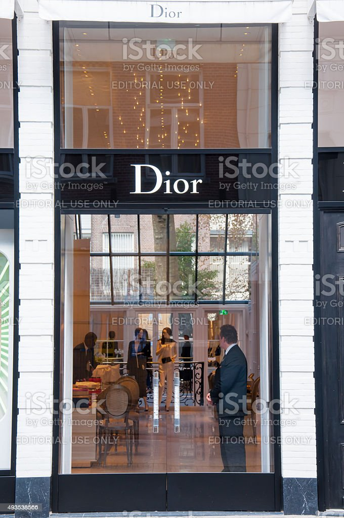 Dior store in the expensive and posh P.C.Hooftstraat shopping street. stock photo