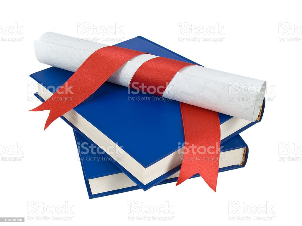 Diploma and books royalty-free stock photo