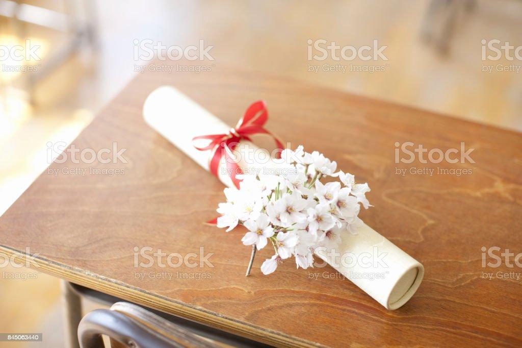 卒業証書と桜の花 ストックフォト