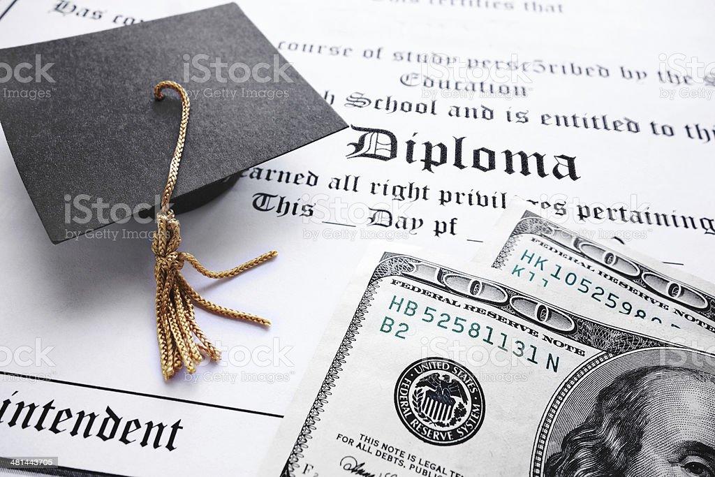 diploma cash royalty-free stock photo