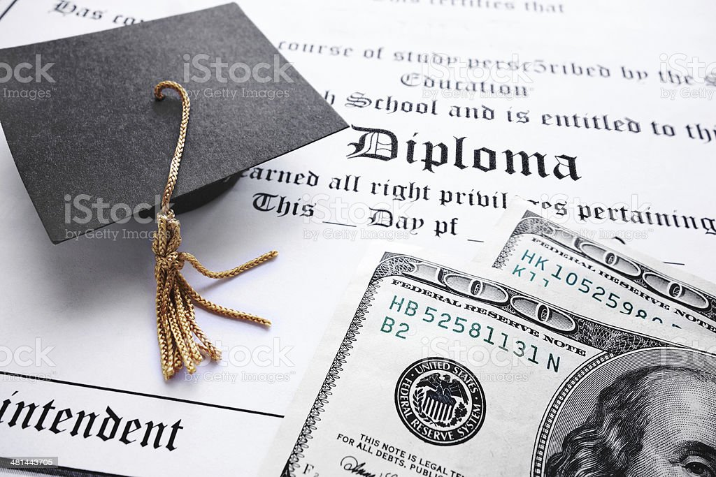 diploma cash stock photo