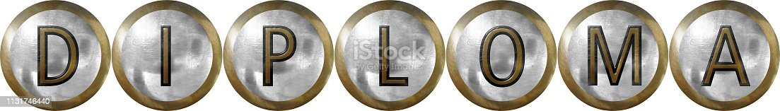 Diploma in text on metal with silver and copper