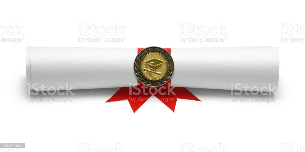 Diploma Degree Front View - foto stock