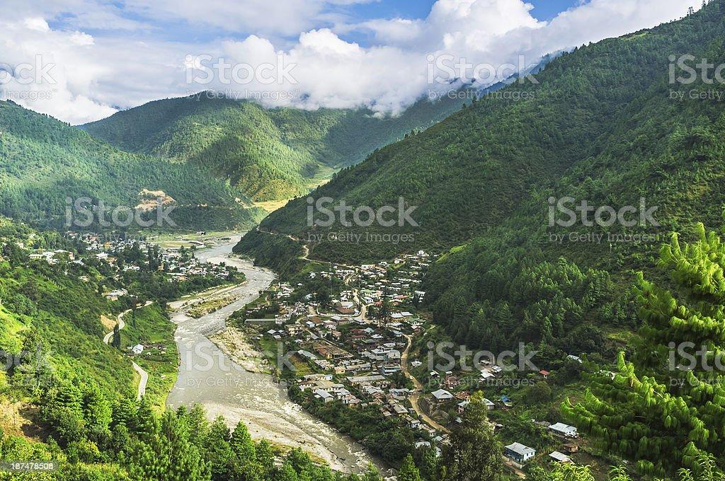 Dirang town, Kameng river, moutains in western Arunachal Pradesh, India. stock photo