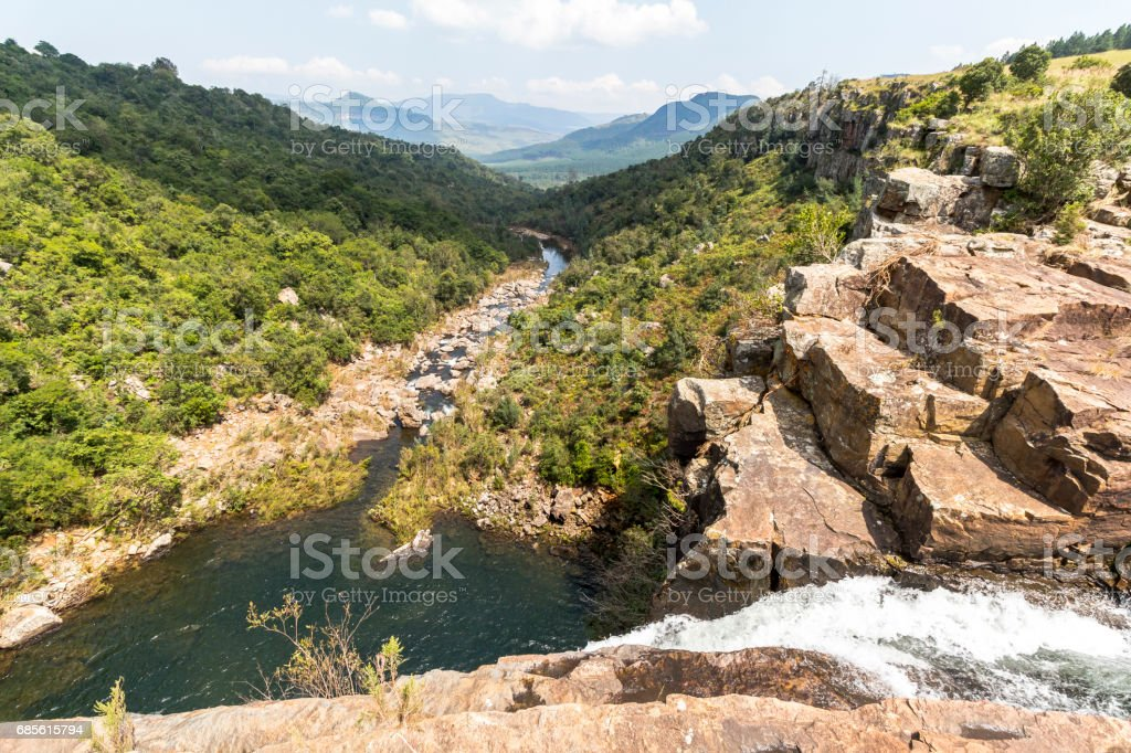Direct at the Berlin Falls in Blyde River area, South Africa stock photo