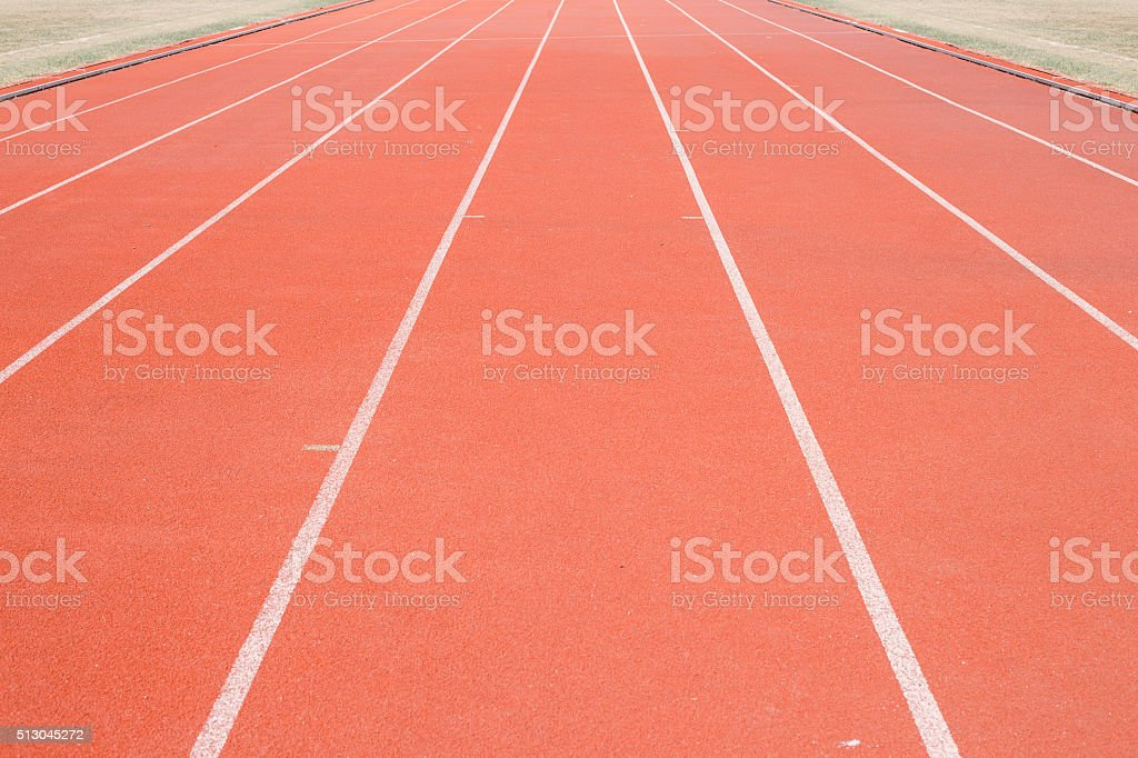 Direct athletics Running track at Sport Stadium stock photo