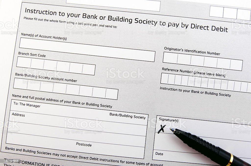 Direct debit form stock photo