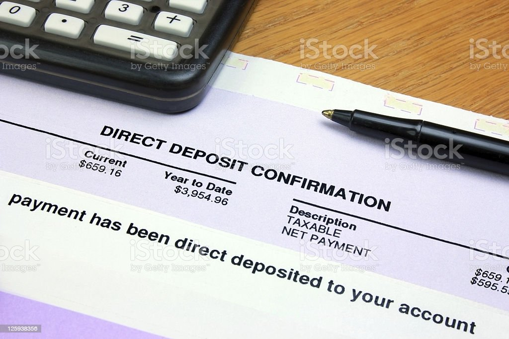 Direct Deposit Confirmation stock photo