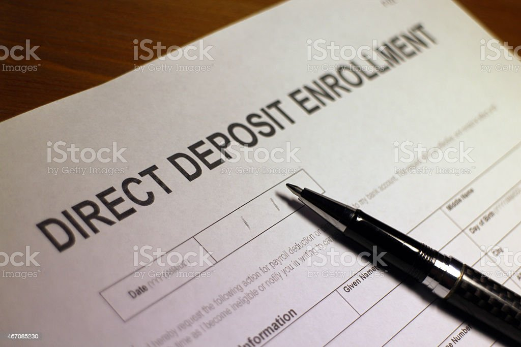 O depósito direto formulário de inscrição - foto de acervo