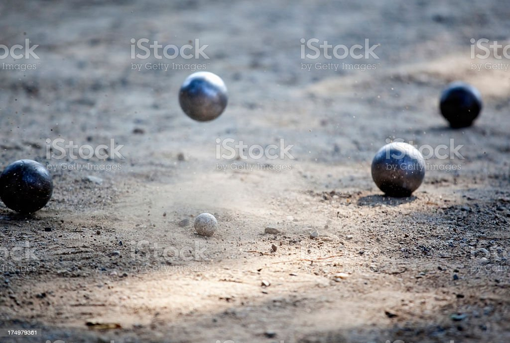 Direct Hit in Petanque royalty-free stock photo