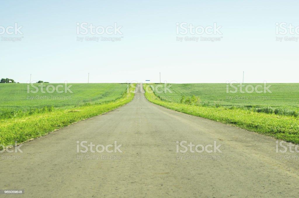 direct road between fields zbiór zdjęć royalty-free