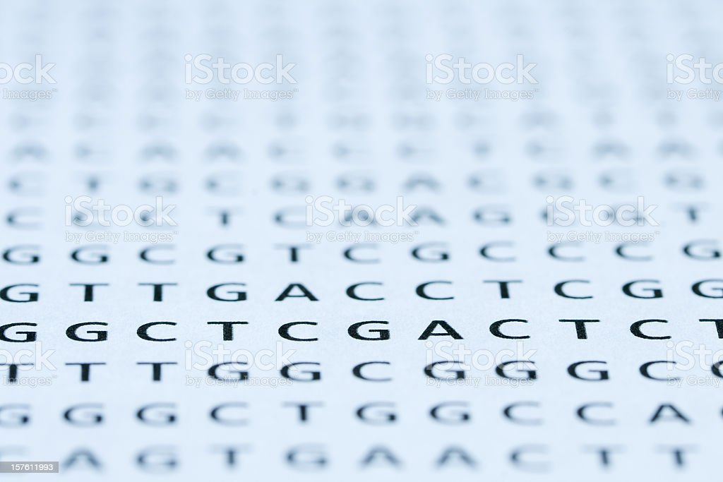 Direct view of DNA nucleotide sequence printout stock photo