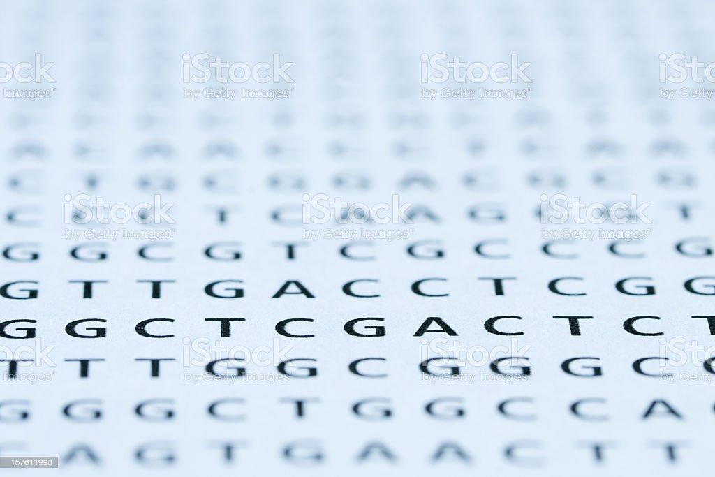 Direkter Blick auf die DNA nucleotide sequence Computerausdruck – Foto