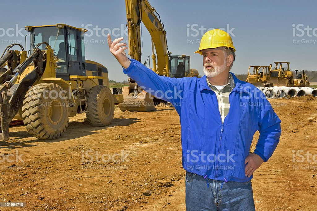 Directing Traffic On Highway Construction Project royalty-free stock photo