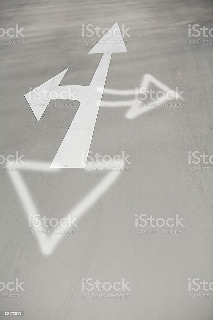 Direction arrow on the road royalty-free 스톡 사진